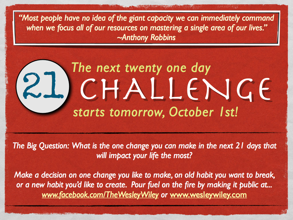 21 Day Challenge - Anthony Robbins Quote